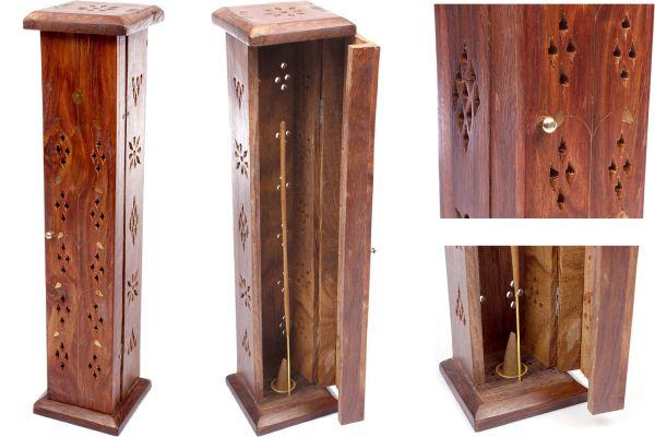 Räucherstäbchen-Turm aus Sheesham-Holz mit Kupfer Blumen-Ornament