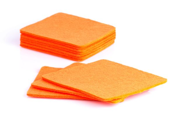 10er Set Glasuntersetzer aus Filz in orange
