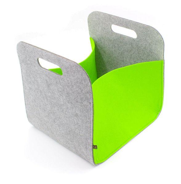 Boîte de rangement en feutre avec poignées, gris/vert