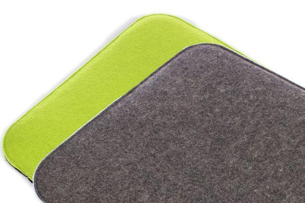 Filz Sitzkissen dunkelgrau/grasgrün mit kleinen Mängeln