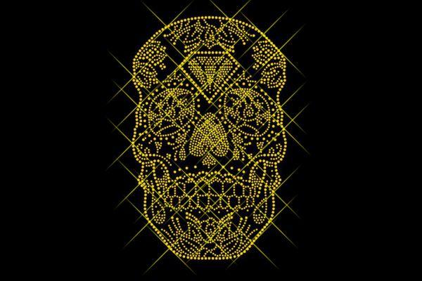 "Strassstein Motiv ""Totenkopf Gold"""