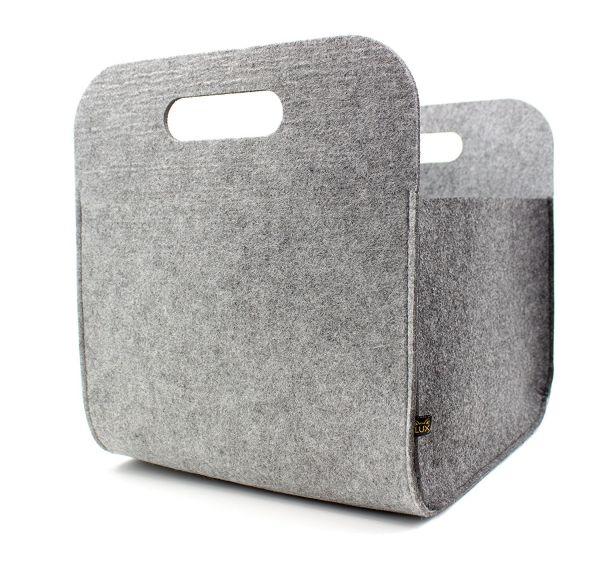 Filz Aufbewahrungsbox mit Tragegriffen, graumeliert/dunkelgrau