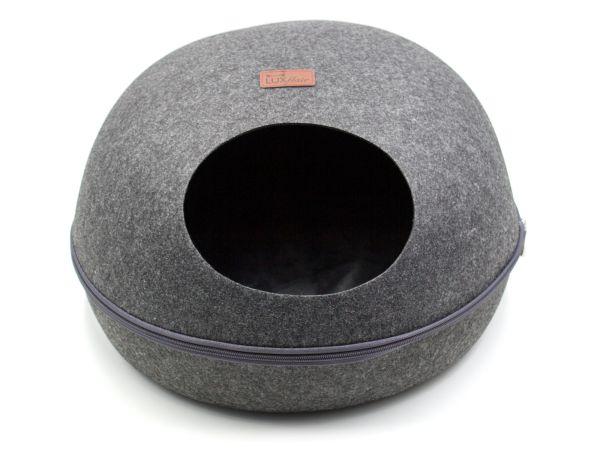 Grotte à chat ovale en feutre design, gris foncé
