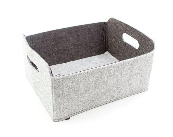 Felt storage box foldable, greyish/dark grey