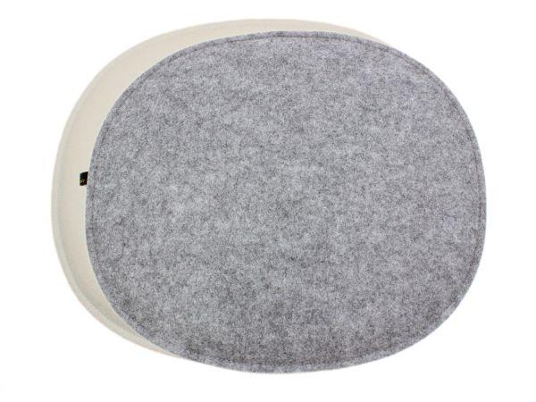 Filz Sitzkissen oval für Eames in cremeweiß und graumeliert