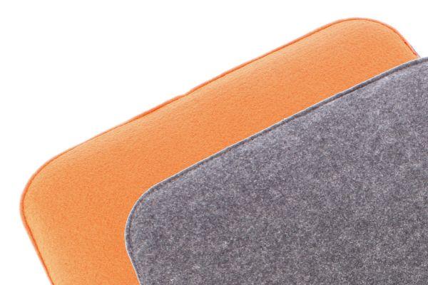 Felt seat cushion 2 coloured to turn in orange and dark grey