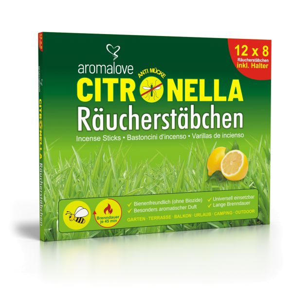 12 packs Citronella Anti Mosquito Incense sticks including incense holder
