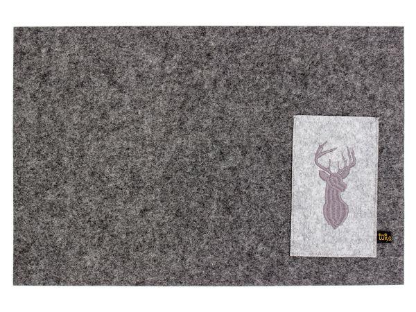 Platzmatten mit Bestecktasche und Hirsch Einstickung, 4er Set, dunkelgrau
