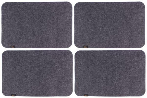 Set of 4 felt place mats in dark grey
