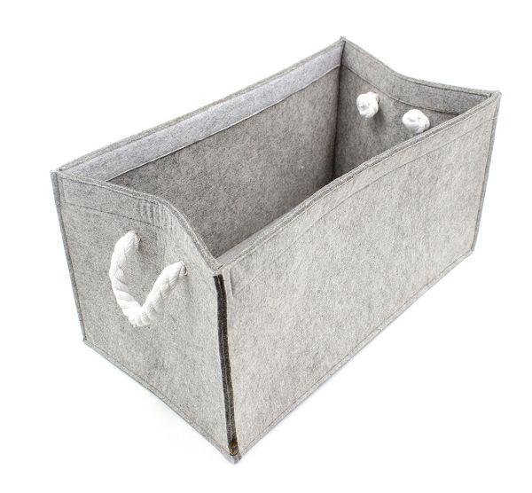 Felt storage box with ropes, greyish mottled