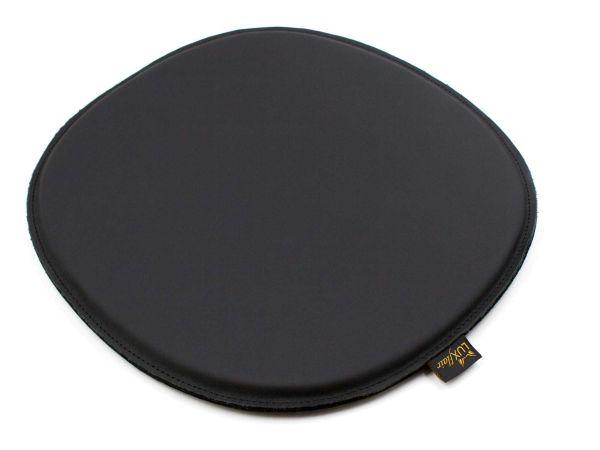 Coussin de siège en cuir véritable de forme ovale en noir