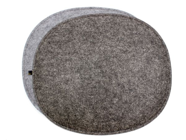 Felt seat cushion oval for Eames in dark gray and gray