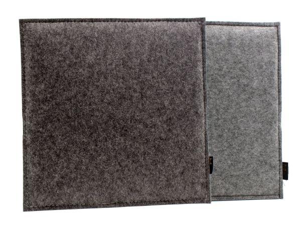 Square felt reversible seat cushion, dark grey mottled