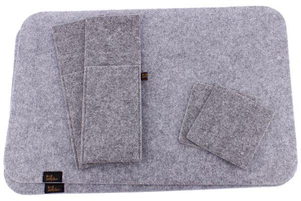 Filz Platzset für 2 Personen (6-tlg) in graumeliert