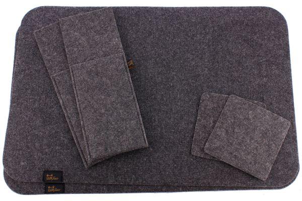 Filz Platzset für 2 Personen (6-tlg), dunkelgrau (Platzmatte, Glasuntersetzer, Bestecktasche)