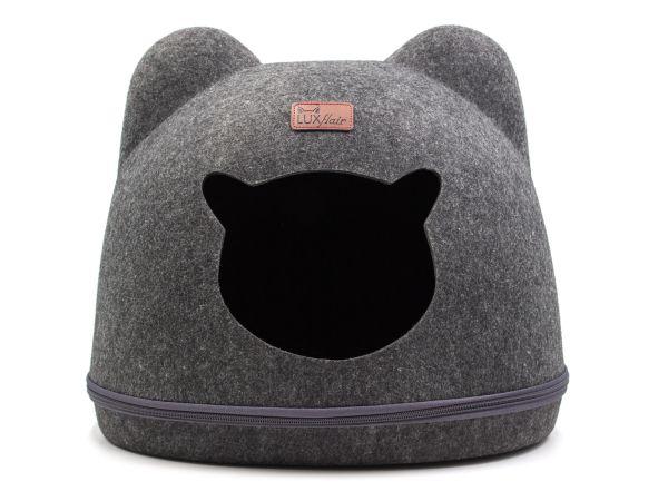 Grotte pour chat en feutre avec oreilles en gris foncé