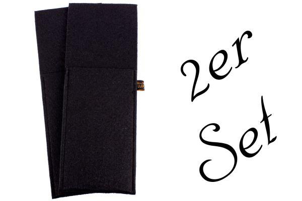 Jeu de 2 pochettes à couverts en feutre noir