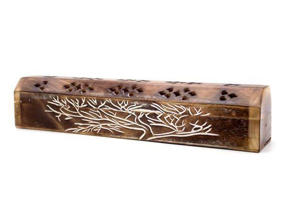 Räucherstäbchen Box aus Sheesham-Holz, handgefertigt, mit Schnitzerei