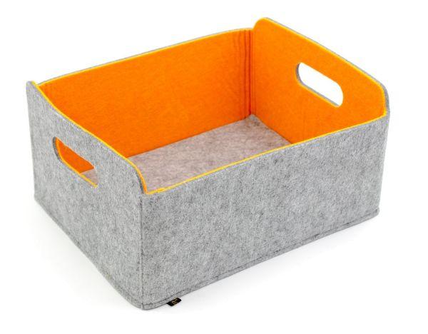 Felt storage box foldable, greyish/orange