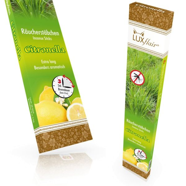 XXL Incense sticks Citronella (anti-mosquito), 20 pieces á 3 hours burning time