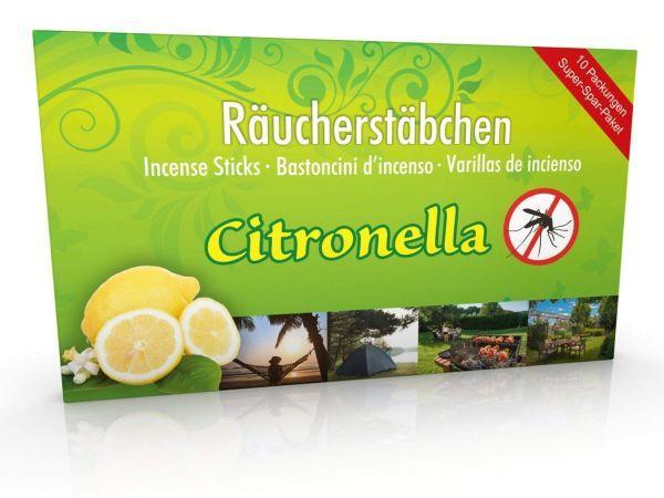 10 Packungen Citronella Anti Mücken Räucherstäbchen