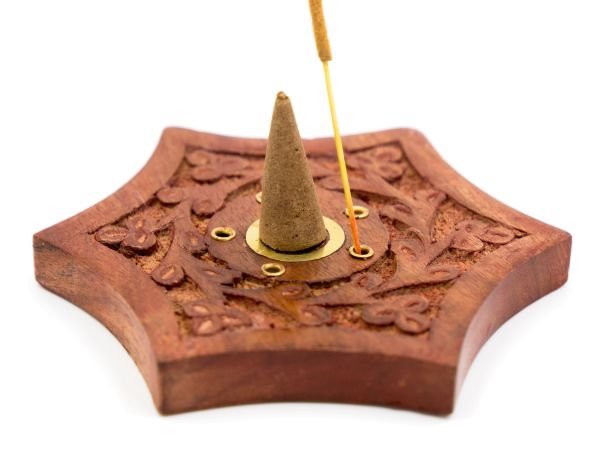 Incense cone holder Sheesham wood star with brass Ying & Yang