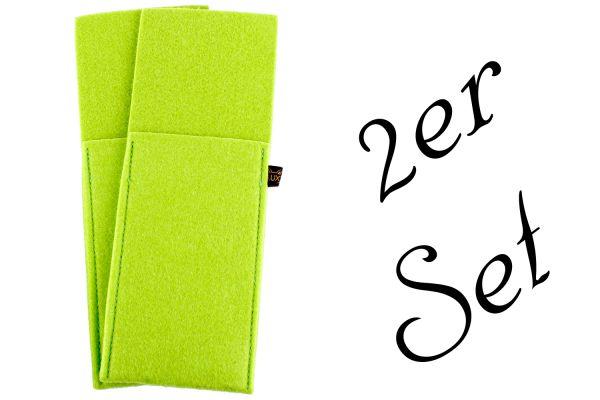 2er Set Bestecktaschen aus Filz in grün