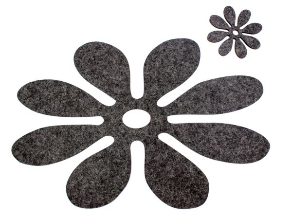 """Felt place mat """"Flora"""" for 4 persons in anthracite"""