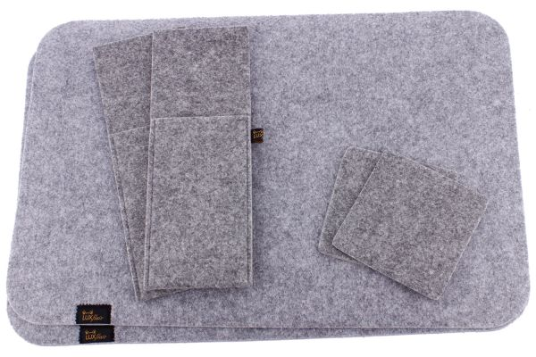 Felt placemat for 2 persons (6 pcs.) in grey mottled