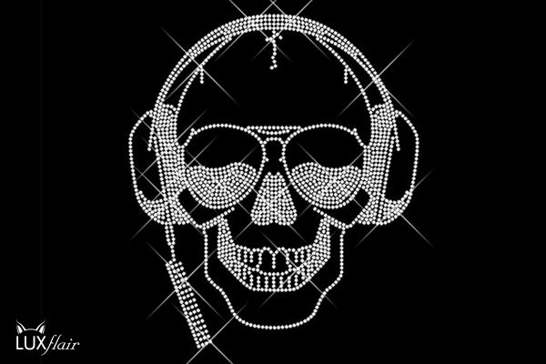 "Strassstein Motiv ""Totenkopf mit Headset"""