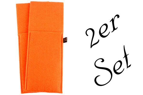 2er Set Bestecktaschen aus Filz in orange