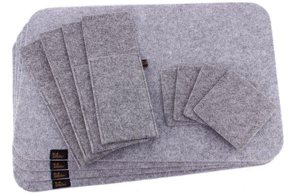 Filz Platzset für 4 Personen (12-tlg) in graumeliert