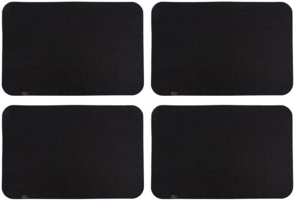 4er Set Platzmatten aus Filz in schwarz