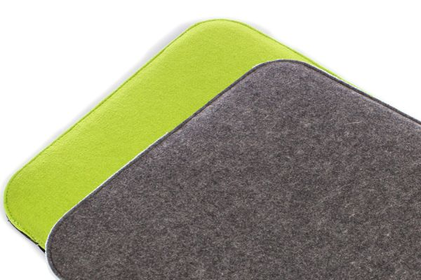 Filz Sitzkissen 2 farbig zum Wenden in dunkelgrau und grasgrün