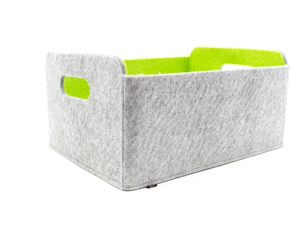 Felt storage box foldable, greyish/green