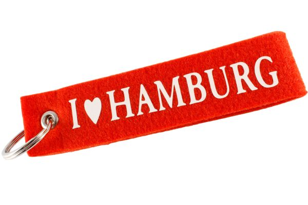 """Filz Schlüsselanhänger """"I love Hamburg"""""""