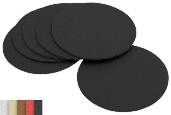 6er Set Glasuntersetzer Echt-Leder, schwarz Ø 10cm