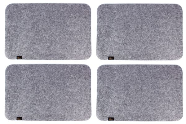 4er Set Platzmatten aus Filz in graumeliert