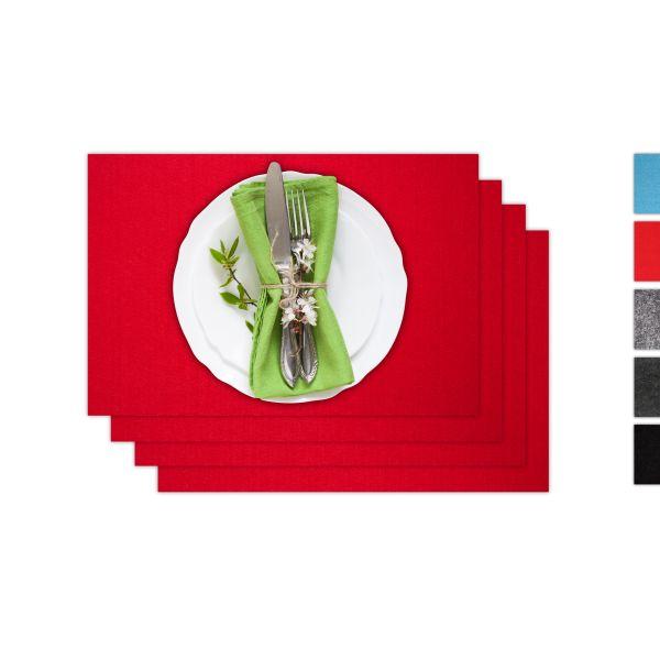 Set de 4 sets de table carrés en feutre rouge