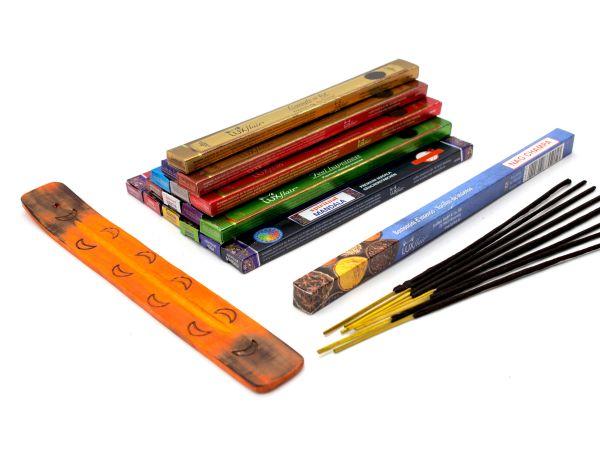 Set de bâtonnets d'encens pour débutants, y compris porte-baguettes