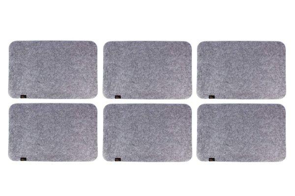 Sets de table en feutre, lot de 6, gris chiné