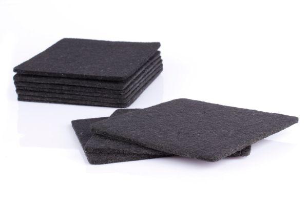 10er Set Glasuntersetzer aus Filz in schwarz