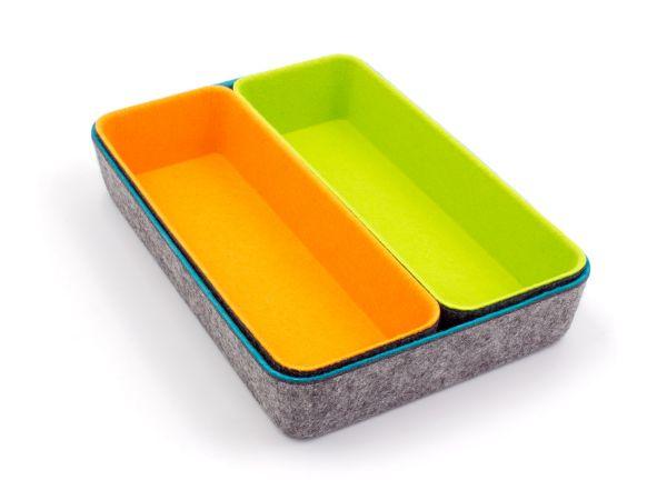 Stylische Filz Büroboxen im 3er Set (länglich). Farbkombi dunkelgrau mit petrol, orange, grün