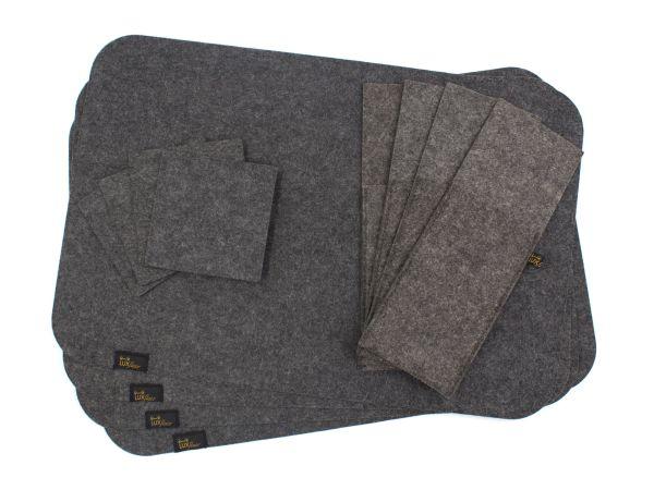 Filz Platzset für 4 Personen (12-tlg) in dunkelgrau