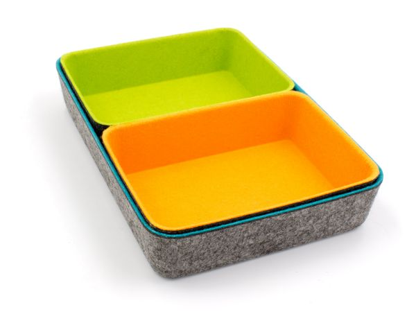 Stylish felt office boxes in a set of 3 (wide). Color combination dark gray with petrol, orange, green
