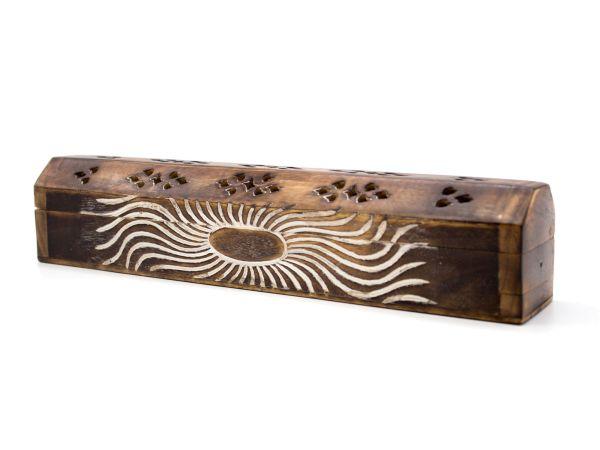 Räucherstäbchen Box aus Sheesham-Holz mit Schnitzerei, braun