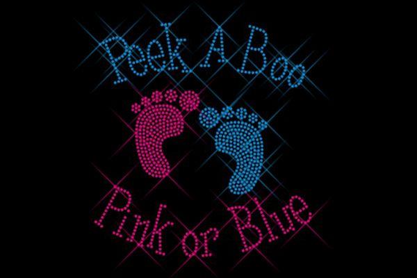 """Strassstein Motiv """"Babyfüße rosa und blau"""""""