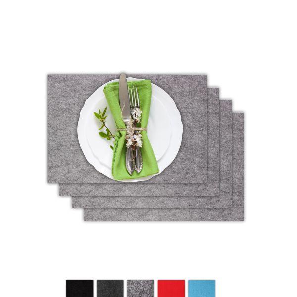 Square felt placemat set of 4 grey mottled