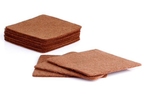 Set of 10 felt glass coasters in brown