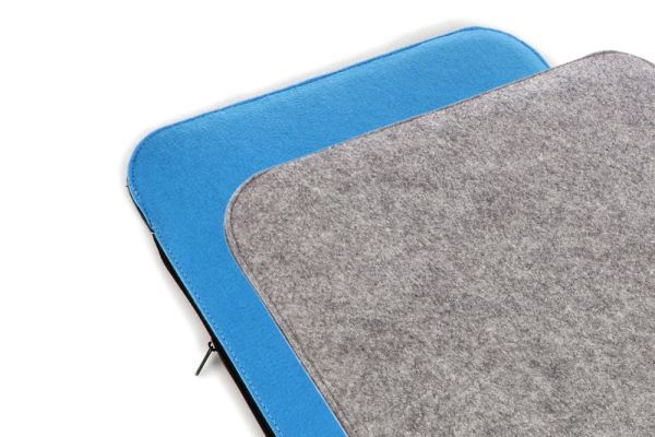 Felt seat cushion 2 coloured to turn in cobalt blue and grey mottled